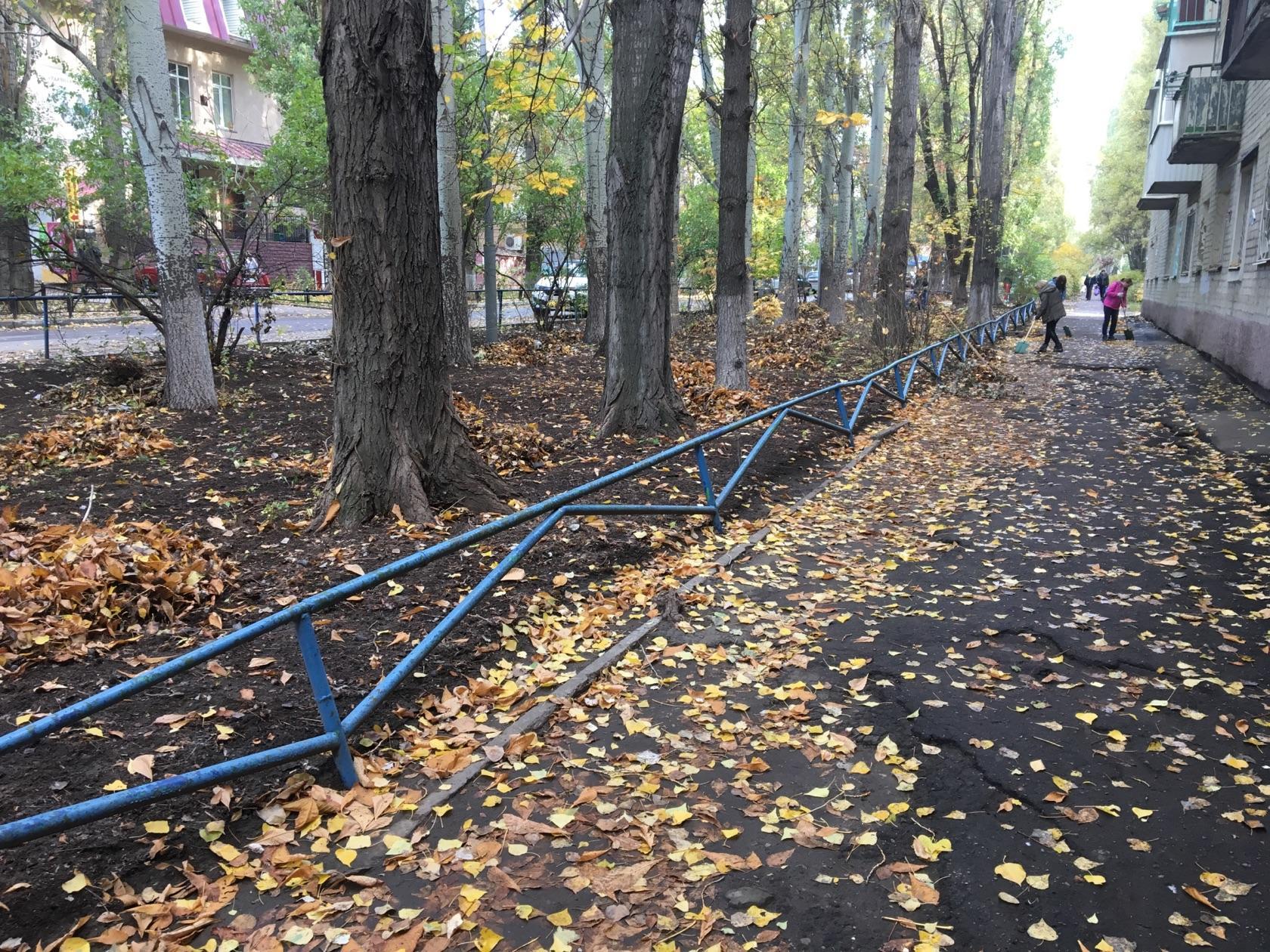 Проведена санитарная очистка скверов в Октябрьском районе